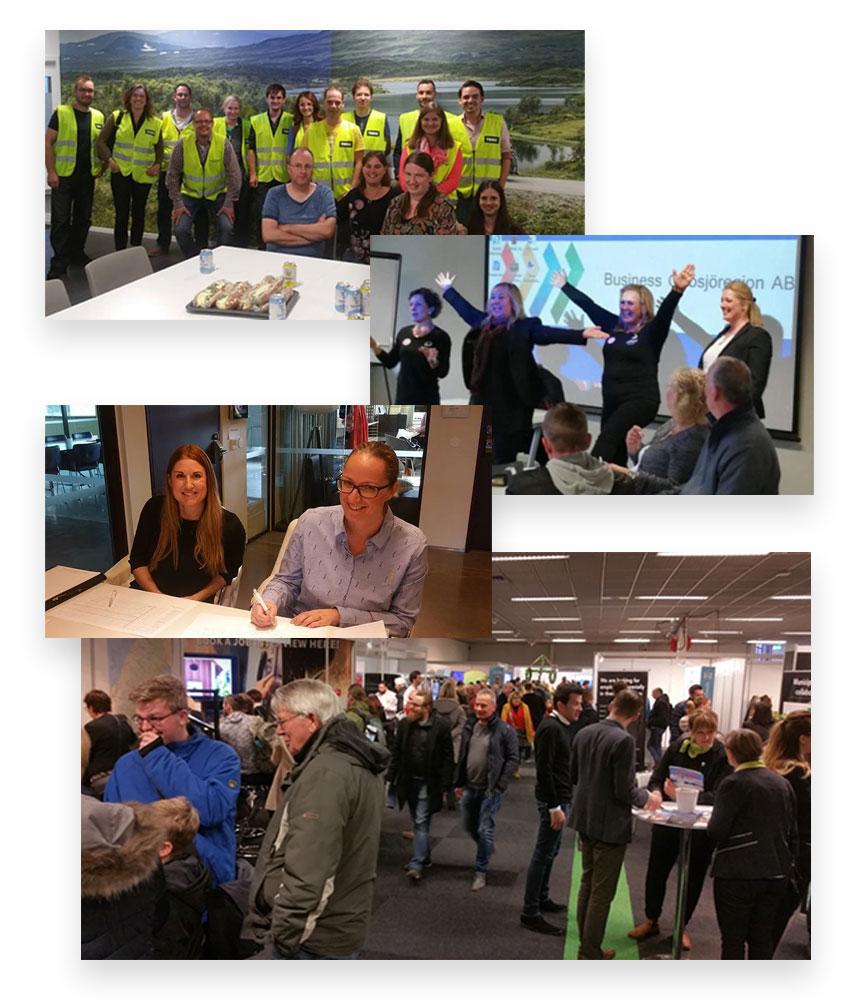Bilden visar fyra bilder på människor från Emigration Express eventet.