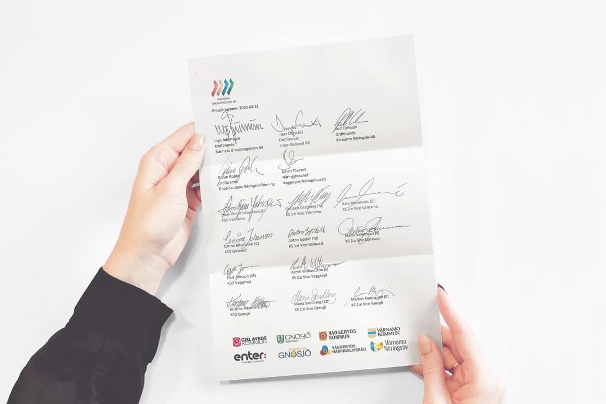 Bilden visar två händer som håller i ett A4 dokument med signaturer